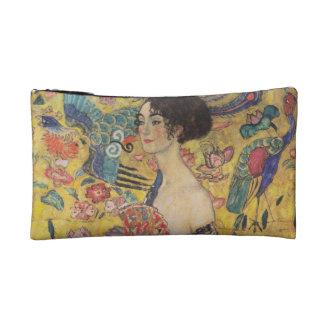 Lady with Fan - Gustav Klimt Cosmetics Bags