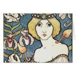 """Lady with Flowers ~ Art Nouveau """"Salon des cent"""" Greeting Card"""