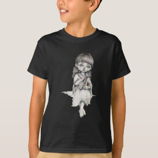 Lady With Giraffe, Pencil Drawing, Black And White T-Shirt