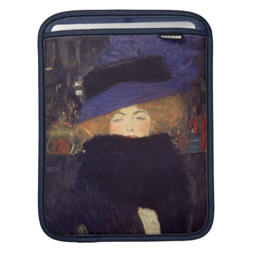 Lady with Hat and Feather Boa - Gustav Klimt Sleeve For iPads