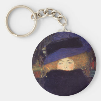Lady with Hat and Feather Boa - Gustav Klimt Key Ring