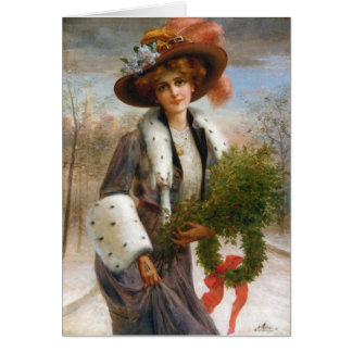 Lady with Holly Branches & Wreath, Card