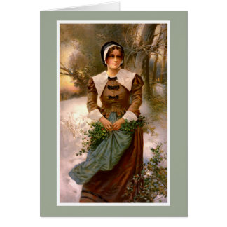 Lady with Holly Vintage Illustration Card