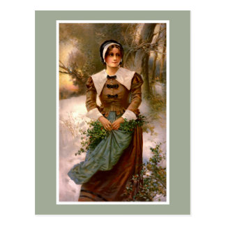 Lady with Holly Vintage Illustration Postcard