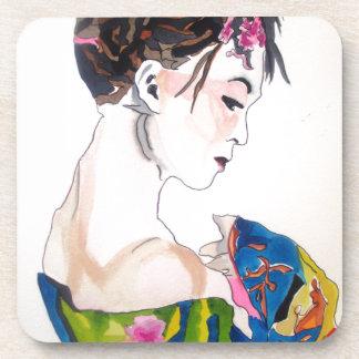 Lady with kimono coaster