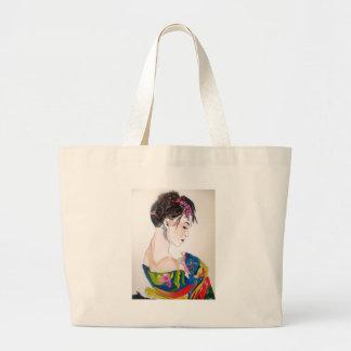 Lady with kimono large tote bag