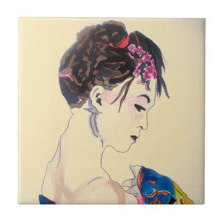 Lady with kimono small square tile
