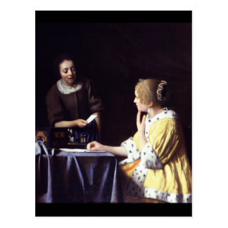 Lady with Maidservant Holding Letter by Vermeer Postcard