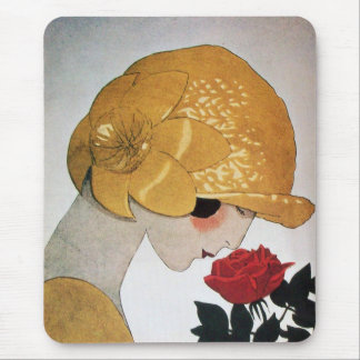 LADY WITH RED ROSE MOUSE PADS
