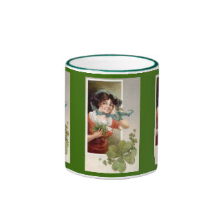 Lady with Shamrocks Coffee Mugs