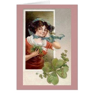 Lady with Shamrocks Greeting Cards