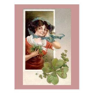Lady with Shamrocks Postcard