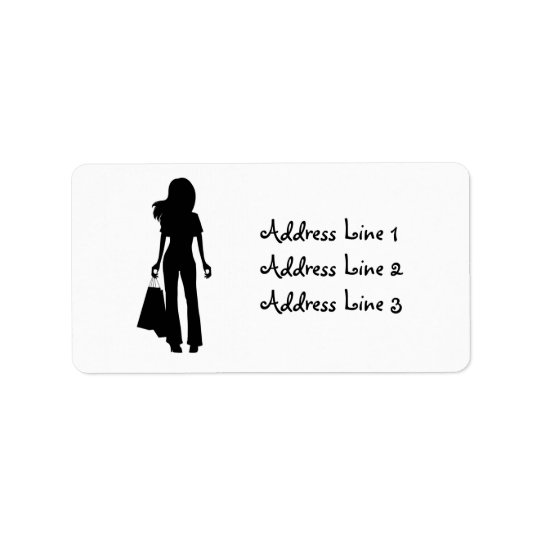 Lady with Shopping Bags Silhouette Address Label