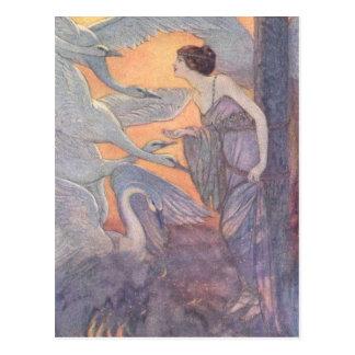 Lady with Six Swans, Postcard