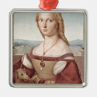 Lady with the Unicorn Raphael Santi Metal Ornament