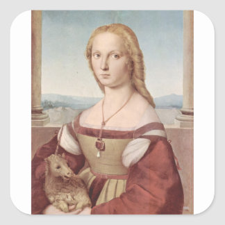 Lady with the Unicorn Raphael Santi Square Sticker