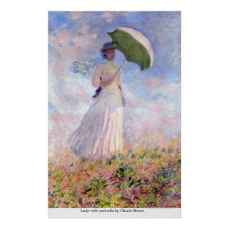Lady with umbrella by Claude Monet Poster