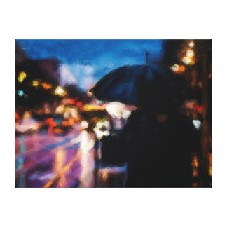 Lady With Umbrella In Rainy Night Moody Drawing Canvas Print