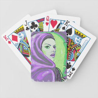 lady woodblock purple bicycle playing cards