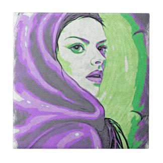 lady woodblock purple ceramic tile