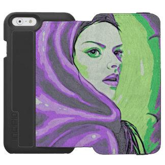 lady woodblock purple incipio watson™ iPhone 6 wallet case