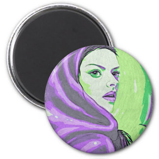 lady woodblock purple magnet
