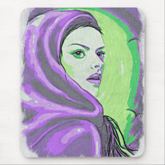 lady woodblock purple mouse pad