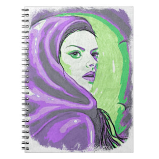 lady woodblock purple notebook
