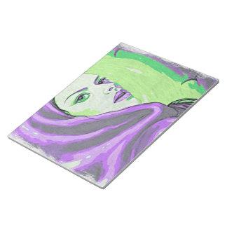 lady woodblock purple notepad