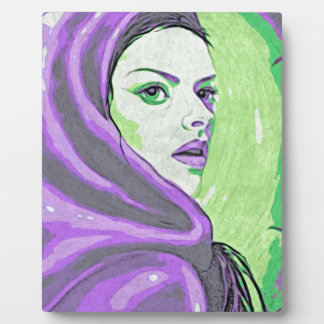 lady woodblock purple plaque
