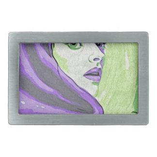 lady woodblock purple rectangular belt buckle