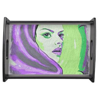 lady woodblock purple serving tray