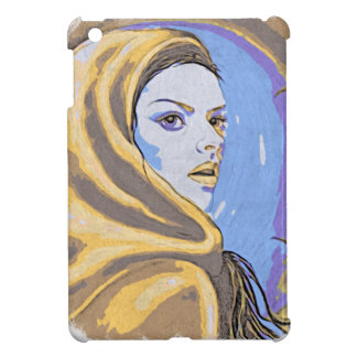Lady woodblock yellow cover for the iPad mini