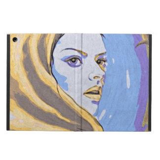 Lady woodblock yellow iPad air case