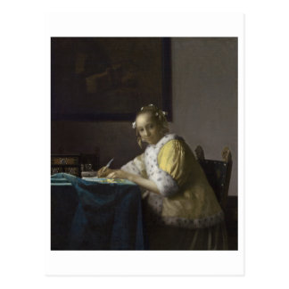 Lady Writing a Letter by Johannes Vermeer Postcard