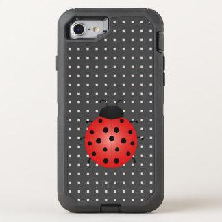 Ladybird Cartoon Geometric Pattern Black Squares OtterBox Defender iPhone 8/7 Case