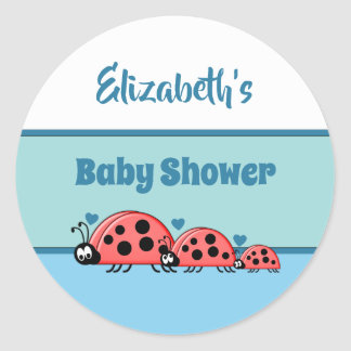 Ladybirds Blue Baby Shower Party Favor Classic Round Sticker
