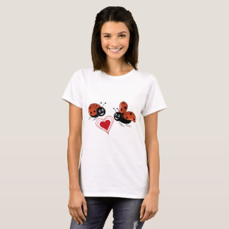 ladybirds in love with red heart T-Shirt