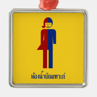 Ladyboy / Tomboy Toilet ⚠ Thai Sign ⚠ Silver-Colored Square Decoration