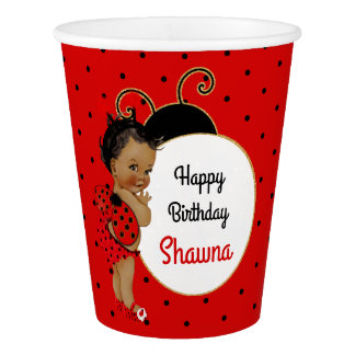 Ladybug African American Baby Girl Red & Black Paper Cup