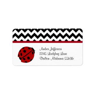 Ladybug and Chevron Pattern Address Labels