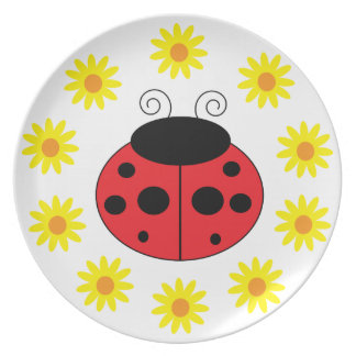 Ladybug and Daisies Plate
