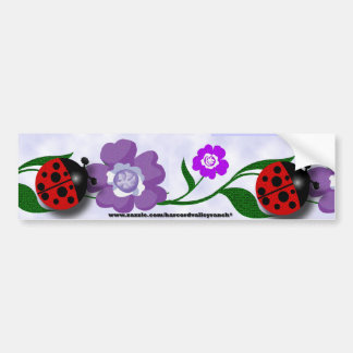 Ladybug and Flowers Bumper Sticker