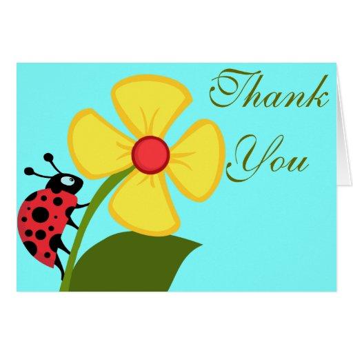 LadyBug and Yellow Flower Thank You Card