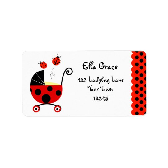 Ladybug Baby Shower Return Address Labels