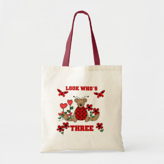 Ladybug Bear 3rd Birthday Tshirts Tote Bag