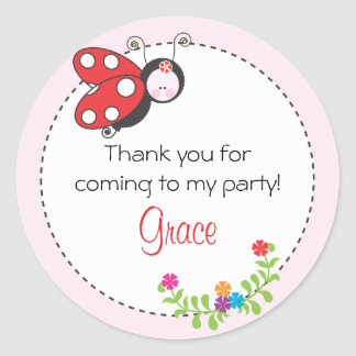 Ladybug Birthday Favor Sticker