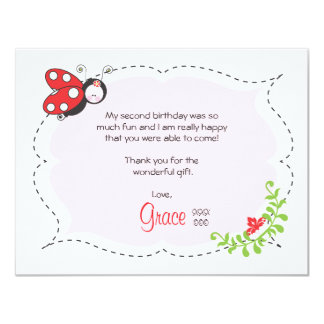 Ladybug Birthday Flat Thank You Note 11 Cm X 14 Cm Invitation Card