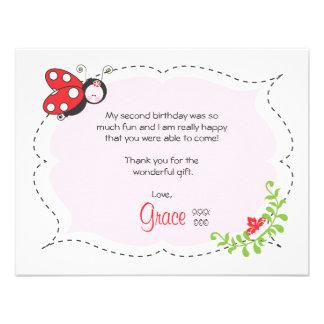 Ladybug Birthday Flat Thank You Note Custom Announcements