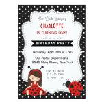 Ladybug Birthday Invitation Black Red Polka Dots